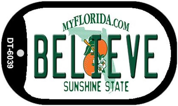 Believe Florida Novelty Metal Dog Tag Necklace DT-6039