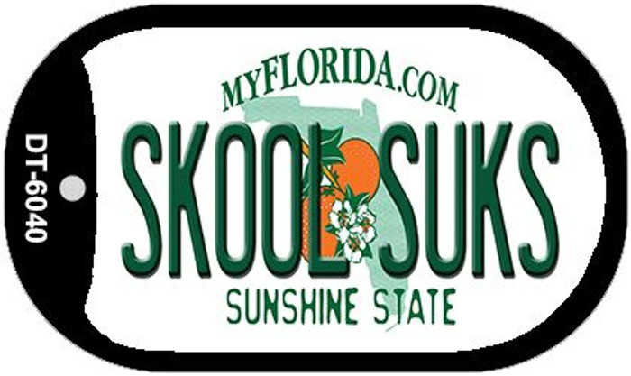 Skool Suks Florida Novelty Metal Dog Tag Necklace DT-6040