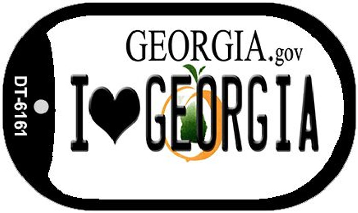 I Love Georgia Novelty Metal Dog Tag Necklace DT-6161