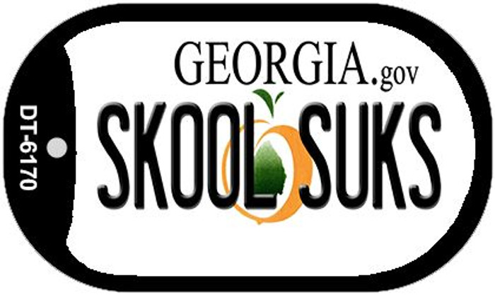 Skool Suks Georgia Novelty Metal Dog Tag Necklace DT-6170