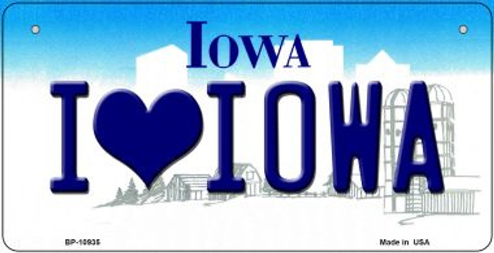 I Love Iowa Novelty Metal Bicycle Plate BP-10935