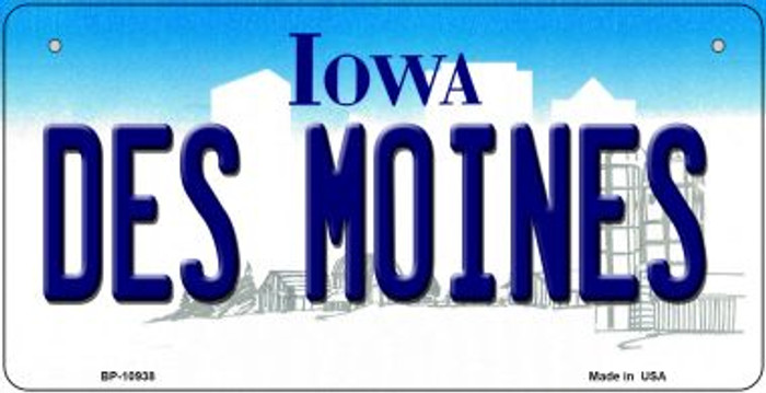 Des Moines Iowa Novelty Metal Bicycle Plate BP-10938