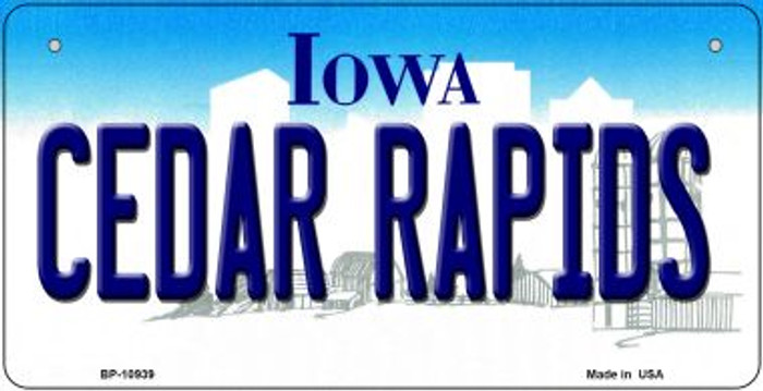 Cedar Rapids Iowa Novelty Metal Bicycle Plate BP-10939