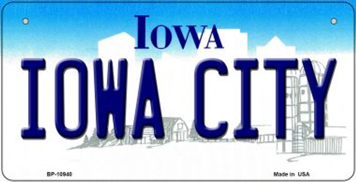 Iowa City Iowa Novelty Metal Bicycle Plate BP-10940