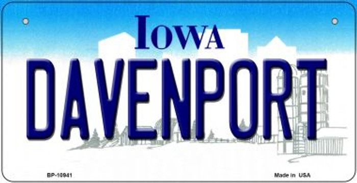 Davenport Iowa Novelty Metal Bicycle Plate BP-10941