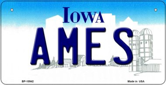 Ames Iowa Novelty Metal Bicycle Plate BP-10942