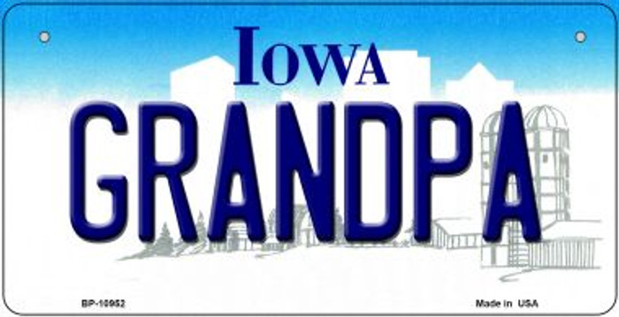 Grandpa Iowa Novelty Metal Bicycle Plate BP-10952