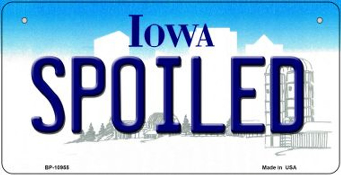Spoiled Iowa Novelty Metal Bicycle Plate BP-10955
