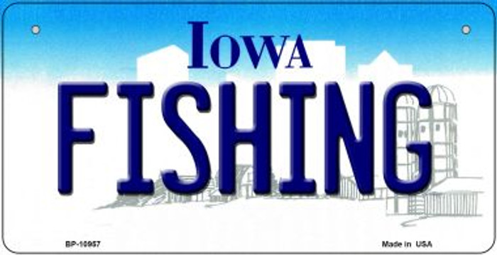 Fishing Iowa Novelty Metal Bicycle Plate BP-10957