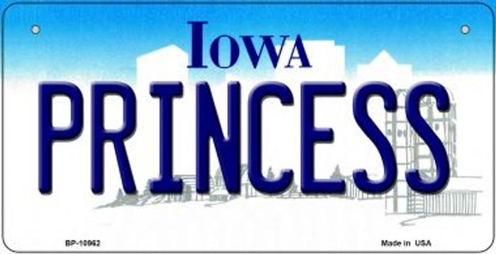 Princess Iowa Novelty Metal Bicycle Plate BP-10962