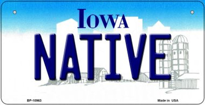 Native Iowa Novelty Metal Bicycle Plate BP-10963