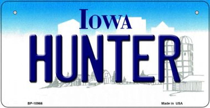Hunter Iowa Novelty Metal Bicycle Plate BP-10966