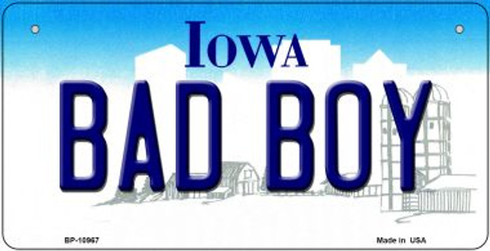 Bad Boy Iowa Novelty Metal Bicycle Plate BP-10967