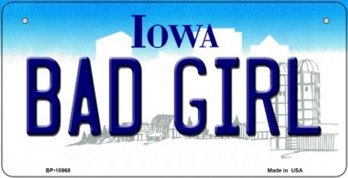 Bad Girl Iowa Novelty Metal Bicycle Plate BP-10968