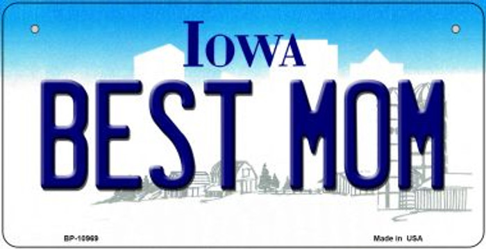 Best Mom Iowa Novelty Metal Bicycle Plate BP-10969