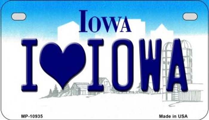 I Love Iowa Novelty Metal Motorcycle Plate MP-10935