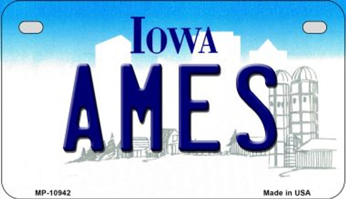 Ames Iowa Novelty Metal Motorcycle Plate MP-10942
