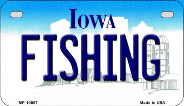 Fishing Iowa Novelty Metal Motorcycle Plate MP-10957
