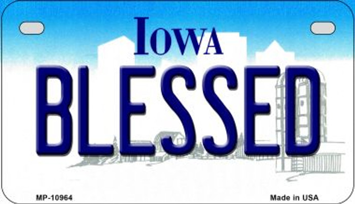 Blessed Iowa Novelty Metal Motorcycle Plate MP-10964