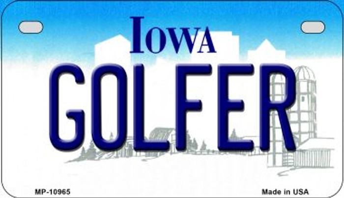 Golfer Iowa Novelty Metal Motorcycle Plate MP-10965