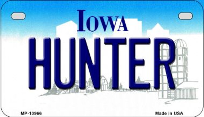 Hunter Iowa Novelty Metal Motorcycle Plate MP-10966