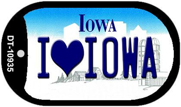 I Love Iowa Novelty Metal Dog Tag Necklace DT-10935