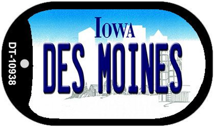 Des Moines Iowa Novelty Metal Dog Tag Necklace DT-10938