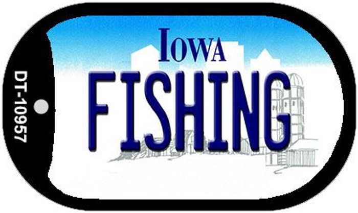 Fishing Iowa Novelty Metal Dog Tag Necklace DT-10957