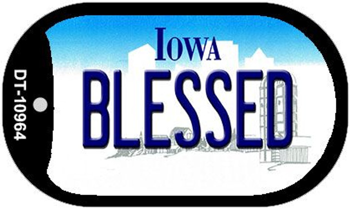 Blessed Iowa Novelty Metal Dog Tag Necklace DT-10964
