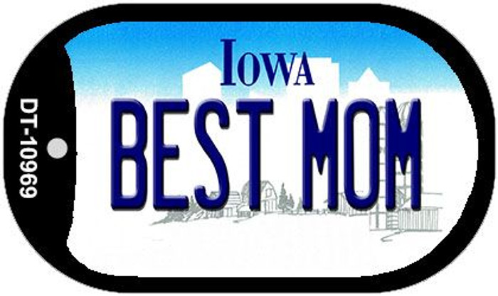 Best Mom Iowa Novelty Metal Dog Tag Necklace DT-10969