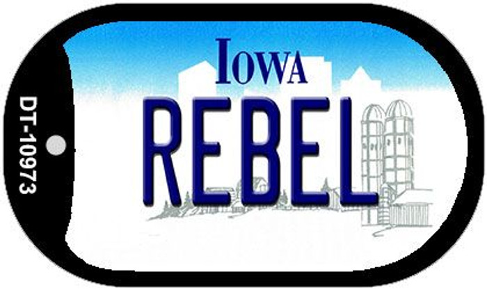 Rebel Iowa Novelty Metal Dog Tag Necklace DT-10973