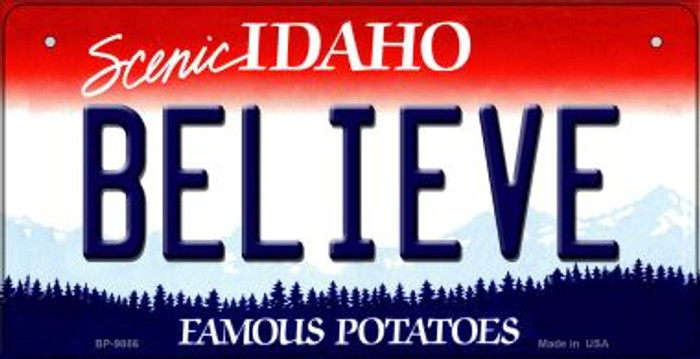 Believe Idaho Novelty Metal Bicycle Plate BP-9886