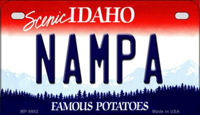 Nampa Idaho Novelty Metal Motorcycle Plate MP-9862