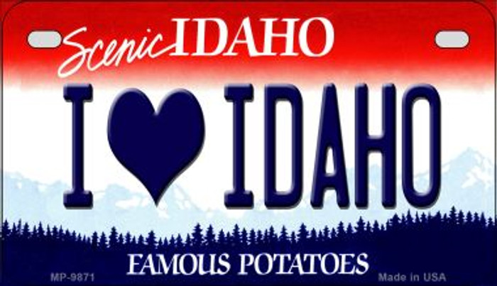 I Love Idaho Idaho Novelty Metal Motorcycle Plate MP-9871