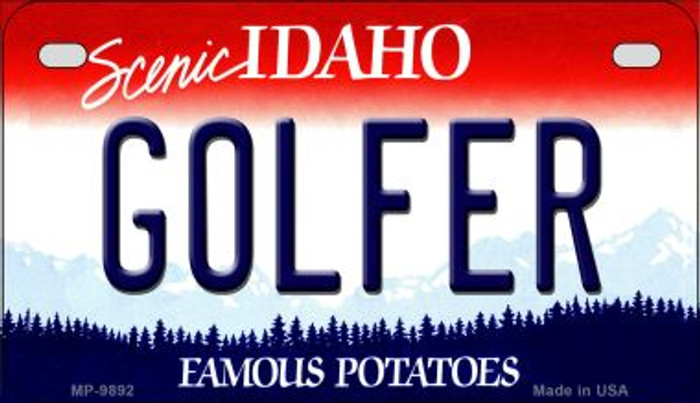 Golfer Idaho Novelty Metal Motorcycle Plate MP-9892