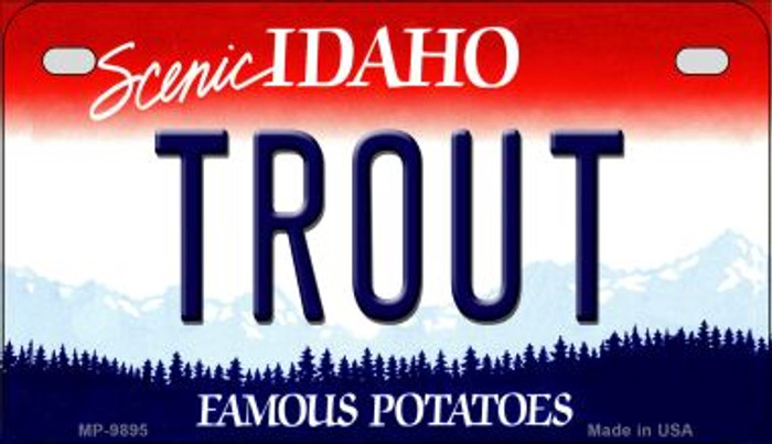 Trout Idaho Novelty Metal Motorcycle Plate MP-9895