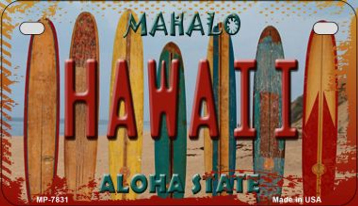Hawaii Surboards Novelty Metal Motorcycle Plate MP-7831