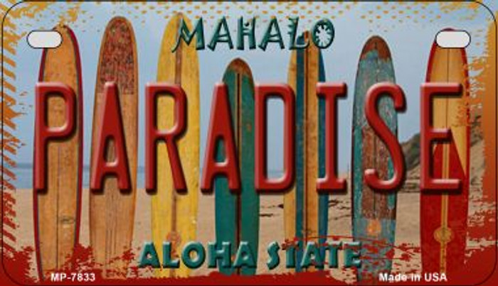 Paradise Surfboards Novelty Metal Motorcycle Plate MP-7833