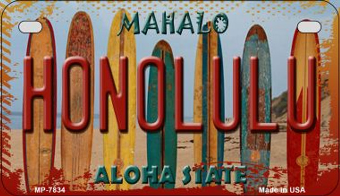 Honolulu Surfboards Novelty Metal Motorcycle Plate MP-7834