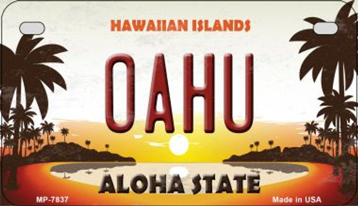 Oahu Hawaiian Islands Novelty Metal Motorcycle Plate MP-7837
