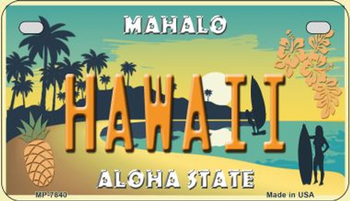 Hawaii Pineapple Novelty Metal Motorcycle Plate MP-7840