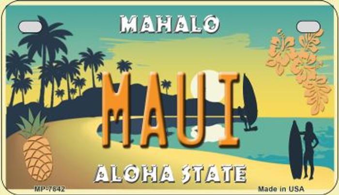 Maui Pineapple Novelty Metal Motorcycle Plate MP-7842