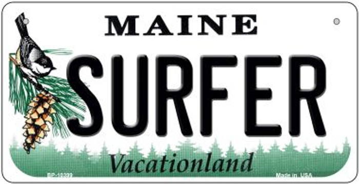 Surfer Maine Novelty Metal Bicycle Plate BP-10399
