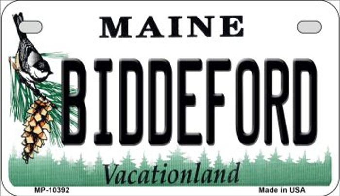 Biddeford Maine Novelty Metal Motorcycle Plate MP-10392