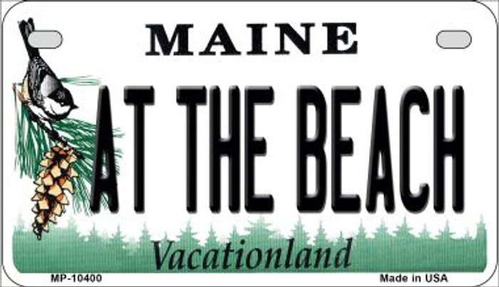 At The Beach Maine Novelty Metal Motorcycle Plate MP-10400