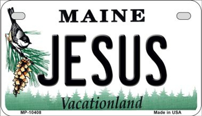 Jesus Maine Novelty Metal Motorcycle Plate MP-10408