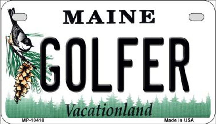 Golfer Maine Novelty Metal Motorcycle Plate MP-10418