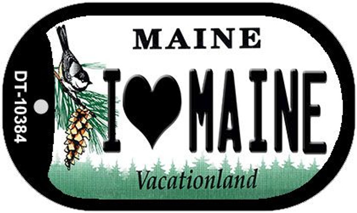 I Love Maine Novelty Metal Dog Tag Necklace DT-10384