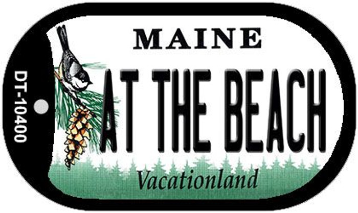 At The Beach Maine Novelty Metal Dog Tag Necklace DT-10400