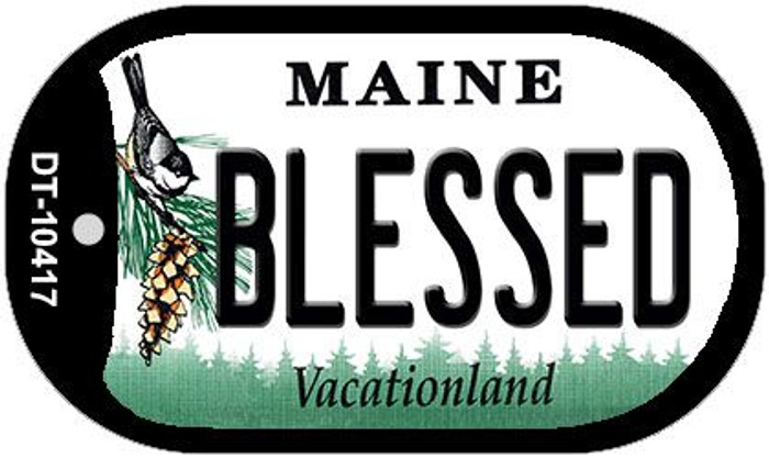 Blessed Maine Novelty Metal Dog Tag Necklace DT-10417